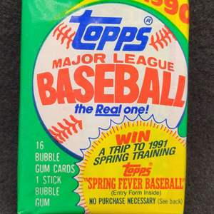 Lot 94 - 1990 TOPPS Original Sealed Pack of Baseball Cards.  See below for high value cards in the 1990 issue.