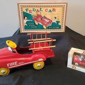 Lot #30 - Cute Toy Fire Truck Peddle Car & Ornament Size Peddle Car w/Original Boxes