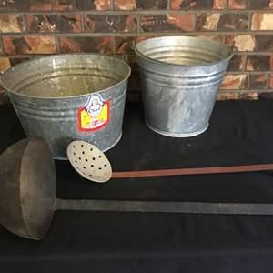 Lot #200 - Two Galvanized Buckets, Large Ladle & Large Straining Ladle
