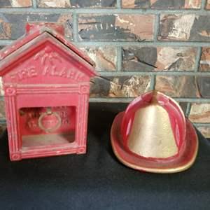 Lot #285 - Antique Gamewell Fire Alarm Pull Station & Cast Iron Firefighter Helmet