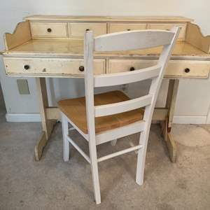 Lot #229 - Vintage Trestle Base Writing Desk and Chair