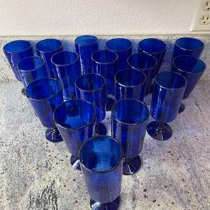 Lot # 2 - Gorgeous Blue Glassware * Pontil Scar on bottom