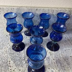 Lot # 5 - 8 Stemmed Blue Hand Blown Glasses