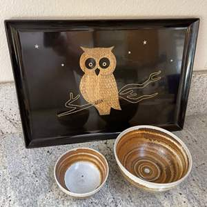 Lot # 17 - Couroc Mid Century Vintage Tray with Owl plus 2 Pottery Bowls