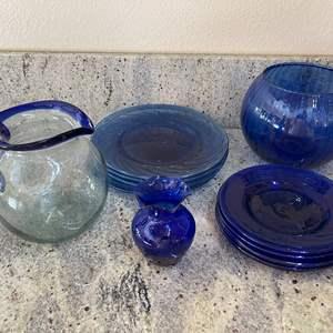 Lot # 21 - More Beautiful Blue Glass Pieces * Plates * Pitcher * 2 Vases