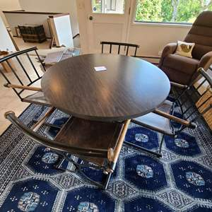 Lot # 22 - Mid Century Modern Wrought Iron Based Table Plus Cool Heavy Chairs with Wooden Arms * Furniture