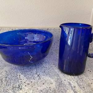 Lot # 23 - Beautiful Hand Blown Blue Glass Bowl & Pitcher * Pontil Scar