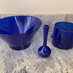 Lot # 24 - More gorgeous Royal Blue Hand Blown Glass Pieces * Large Bowl with Vase