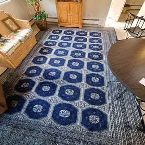 Lot # 25 - Gorgeous Large Blue Toned Alibaba 9x12 Wool Rug * Tag Reads Cashmir Quality