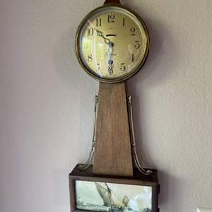Lot # 26 - Sessions Ship Motif Wind up Antique Wall Clock with Key