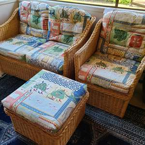 Lot # 28 - Wicker Love Seat and Chair Set with Cushions * Artificial Tree * Furniture