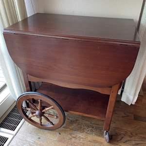 Lot # 29 - Antique Wooden Tea Cart with Drop Leaf Sides * Furniture