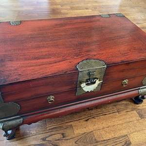 Lot # 32 - Chinese Wooden Trunk Coffee Table with Brass Accents * Locking Key * Furniture