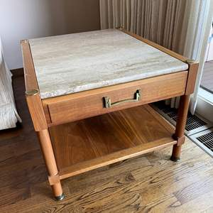 Lot # 33 - Quality Made Heritage End Table with Stone Slab top * One Drawer with Lower Shelf * Furniture