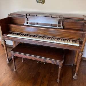 Lot # 35 - Wonderful Antique W.W. Kimball Co. Upright Piano #444907 * Bench * Piano Books & Sheet Music * Furniture * Instrument
