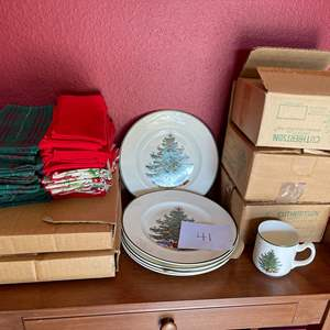 Lot # 41 - Cuthbertson Original Christmas Tree Dishes * Some new in box * Misc. Cloth Christmas Napkins