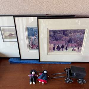 Lot # 43 - 3 Amish Framed Photos & Wrought Iron Wagon