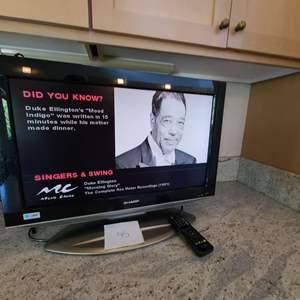 Lot # 45 - Sharp Liquid Crystal Small Flat Screen TV * Includes Remote * Works Great!