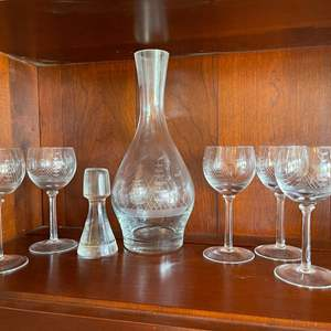 Lot # 54 - Crystal Ship Engraved Decanter with 5 Ship Engraved Glasses