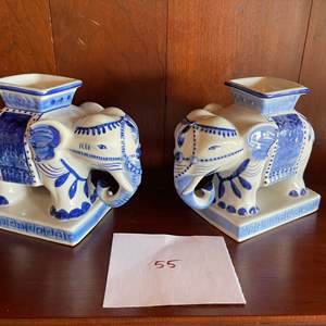 Lot # 55 - 2 Blue And White Ceramic Elephants made in Thailand