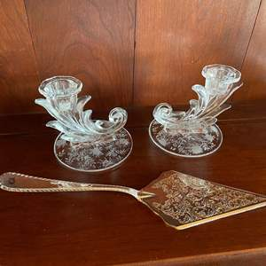 Lot # 56 - 2 Crystal Candlesticks with Silver-plate Pie Server