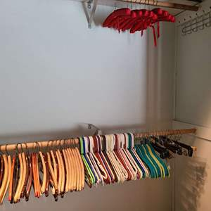 Lot # 69 - Nice Selection of Wooden, Padded, & Plastic Hangers
