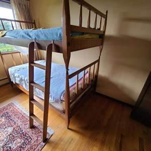 Lot # 71 - Rare Find!  Antique Bunk Beds Clean Line Spindle or 2 Twin Matching Beds * Furniture