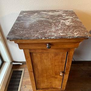 Lot # 73 - Beautiful Antique Pedestal Cabinet with Stone Top * Furniture