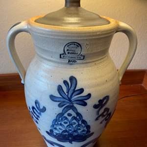 Lot # 79 - Really nice Cambridge WIS. Handmade Pottery Works Rowe 1988 Lamp