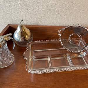 Lot # 84 - Silverplate and Glass Serving Pieces