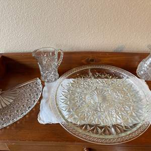 Lot # 89 - Vintage Cut Crystal and Glass Serving Pieces