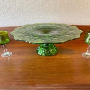 Lot # 92 - Vintage Green Glass Lot * Fun Pieces