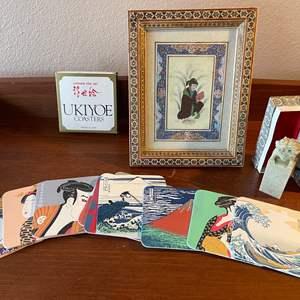 Lot # 105 - Ukiyoe Japanese Fine Art Coasters * Figurine * Framed Art