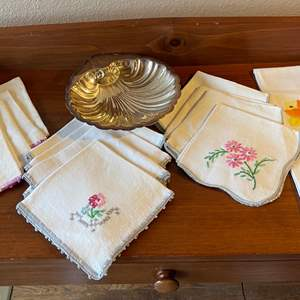 Lot # 109 - Vintage Linens * Silverplate Dish