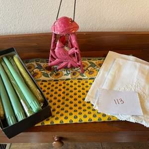 Lot # 113 - Cast Iron Decor * Candles * Linens