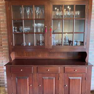 Lot # 123 - Large Quality Made 9 Pane Cherry Antique Buffet with Hutch * 2 Pieces * Furniture