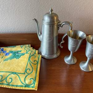 Lot # 132 - Jostens Pewter and Linens