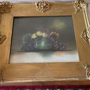 Lot # 141 - Beautiful Antique Art in Gorgeous Frame ready for restoring