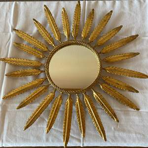 Lot # 150 - Unique Gold Feathered Mirror Wall Hanging