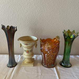 Lot # 153 - Carnival Glass Pitcher and Vases * 1 Hand Painted Vase