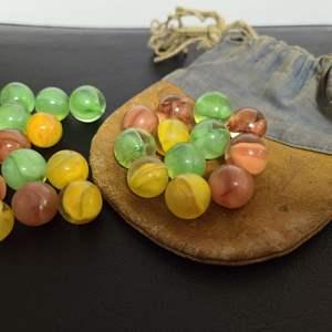Lot # 158 - Vintage Cat Eye Marbles with Vintage Marble Bag