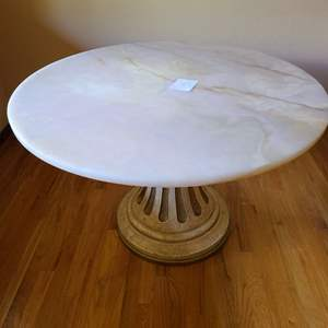 Lot # 168 - Round Marble Top Table with Beautiful Solid Wood Base