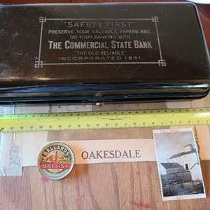 Lot # 169 - Vintage Media and Marketing items * Old Metal Locking Box Commercial State Bank