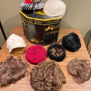 Lot # 184 - Antique Dobbs Hat Box * Women's Vintage Hats * Vintage Wigs