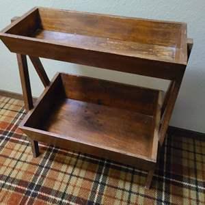 Lot # 185 - 2 Tier Antique Wooden Basket Stand