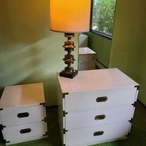 Lot # 186 - Mid Century Small 3 Drawer Dresser in Creamy White Color * Nightstand * Lamp * Furniture