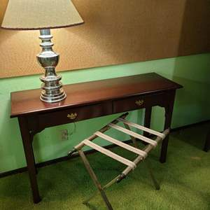 Lot # 188 - Cherry Sofa Table * Lamp * Suitcase Stand * Furniture