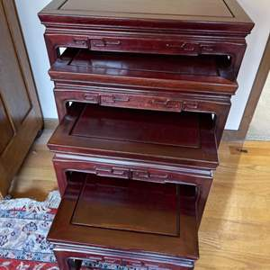 Lot # 190 - 4 Asian Style Antique Nesting Tables * Furniture