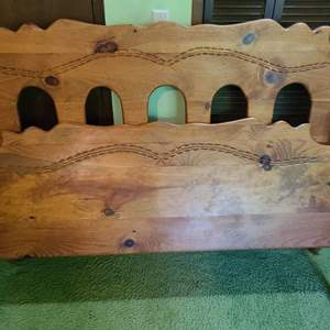 Lot # 191 - Beautiful Heavy Pine Queen Bed with Carvings * Furniture