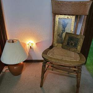 Lot # 192 - Antique Chair * Art * Lamp * Stained Glass Light